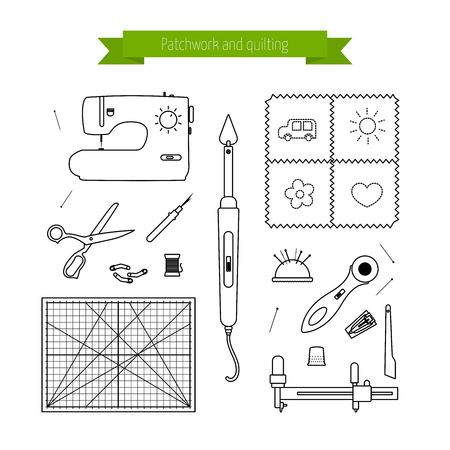 quilting: Patchwork line icons set. Quilting supplies and accessories icons. outline icon collection. elements for  your design Illustration