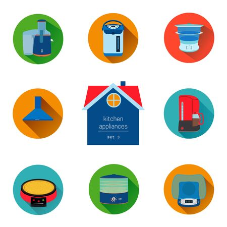 precise: home kitchen appliances and electronics icon set. Flat style icons collection. Colorful elements for design web and mobile applications. Illustration
