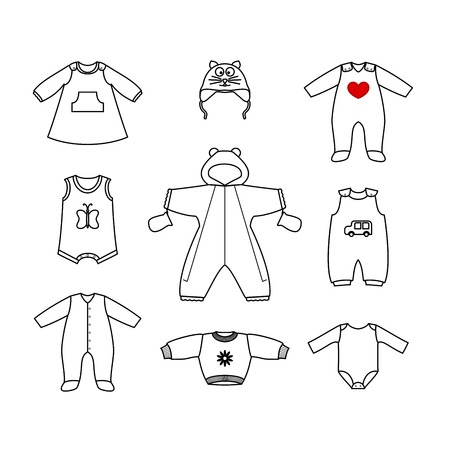 baby clothing: Set of cute clothess for the little baby. Collection of clothing in a linear style for the newborn. Vector outline illustration. Vector outline  illustration set for your design