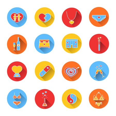 clinking: Set of colored icons for Valentines day. Collection of colorful icons in flat style. Elements of design for web design, mobile applications, romantic design products