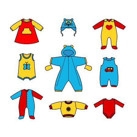 boy underwear: Set of cute clothess for the little baby. Collection of clothing in a flat style for the newborn.