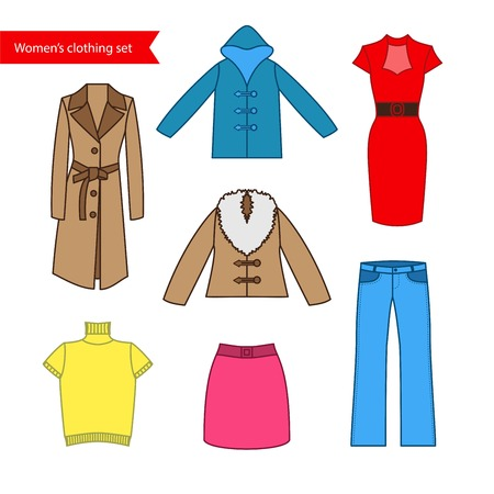 skirt suit: Set of icons of womens clothing for your design. Colorful womens clothing icons collection.