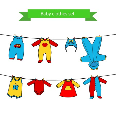 Set of cute clothess for the little baby on the clothesline. Collection of clothing in a flat style for the newborn. Illustration