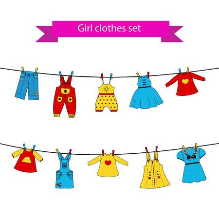dry suit: Set of cute color dresses for the little girl on the clothes line. Collection of colorful clothing in a linear style for the child. Illustration