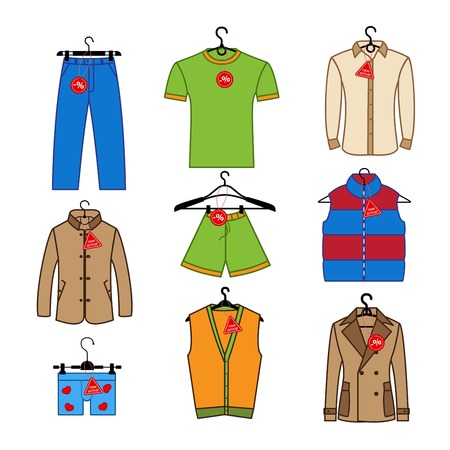 men's clothing: Set of icons of mens clothes with tag new arrival, discounts. Colorful mens clothing icons collection. Set of icons for design labels, flyers, discount vouchers and advertising