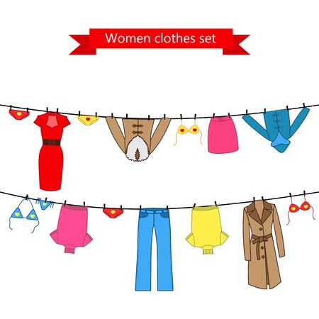 Set of color clothes for the woman on the clothes line. Collection of colorful clothing in a linear style for the woman.