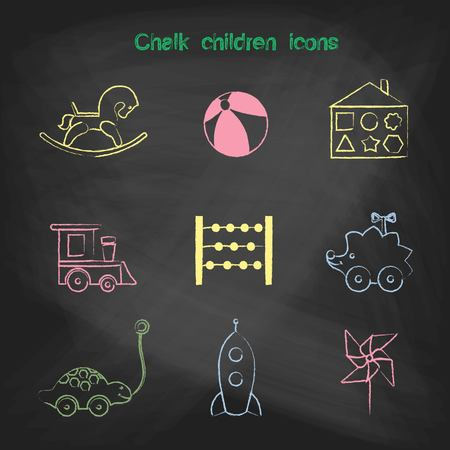 school bills: Set of linear icons. Childrens toys collection of vector icons. Outline vector rocking horse, ball, sorter, train, scores, hedgehog, turtle, rocket, windmill icon