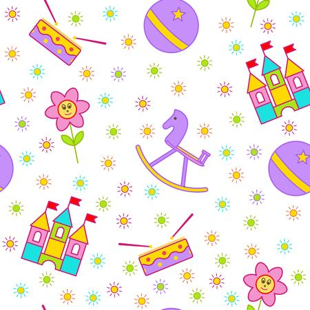 leaflets: Seamless childrens background. Seamless vector illustration. Cute seamless pattern with elements for design, packaging, printing, textile, design websites, flyers and advertising leaflets Illustration