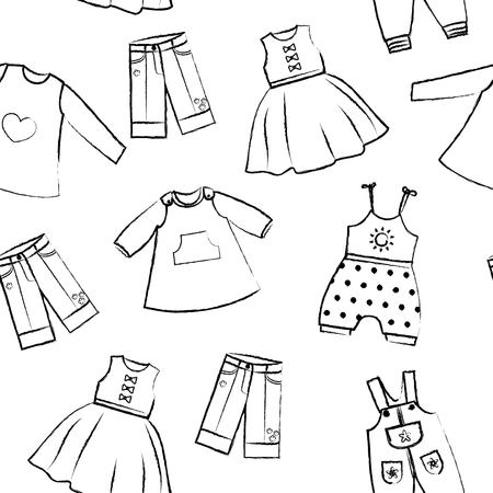skirt suit: Seamless pattern white background with cute black dresses for the little girl. Collection of clothing in a linear style for the child. Hand-drawn crayon style. Seamless vector wallpaper Illustration