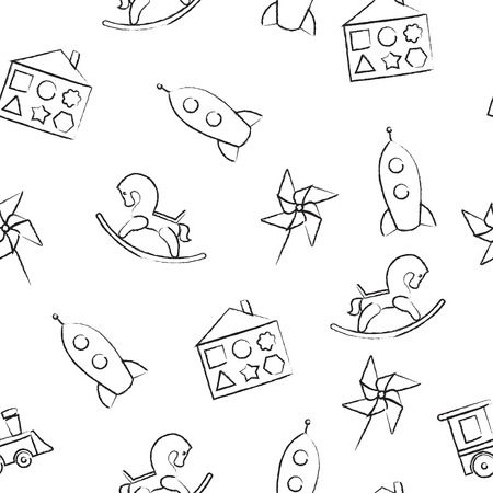 rocking horse: Seamless pattern black crayon childrens drawings on white background. Hand-drawn style. Seamless vector wallpaper with the image of  rocking horse, rocket, locomotive, whirligig