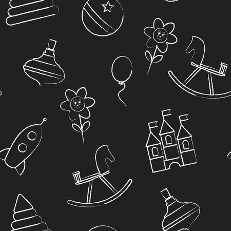 outline drawing: Seamless pattern  with white childrens chalk drawings jn black background. Hand-drawn style. Seamless vector wallpaper with the image of   hedgehog, key wind-up toy, rocket, train.