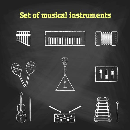 flute instrument: CHALK style music icons set. Childrens toys collection of vector icons. Outline vector drum, pipe, flute, piano, keys, maracas, harmonica and other musical instrument Illustration
