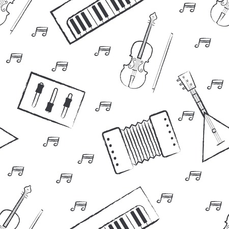 drawings image: Seamless pattern dark grey childrens crayon drawings on white background. Hand-drawn style. Seamless vector wallpaper with the image of musical instruments  piano, balalaika, mixer, violin bow, note