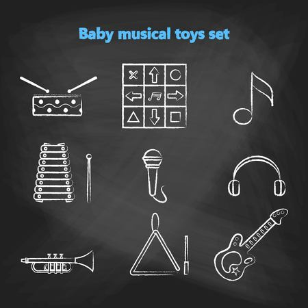 triangle musical instrument: Set of vector chalk icons of musical instrumen. Vector illustration in  white chalk line style. Collection vector elements for web design, mobile applications, design flyers, discounts and advertising