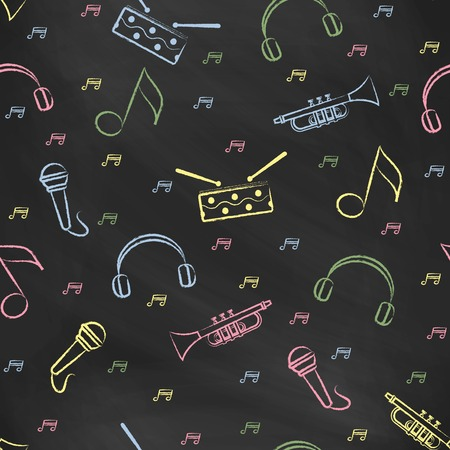 black board: Seamless pattern black chalk board with color childrens chalk drawings. Hand-drawn style. Seamless vector wallpaper with the image of  drum, microphone, pipe, headphones and note