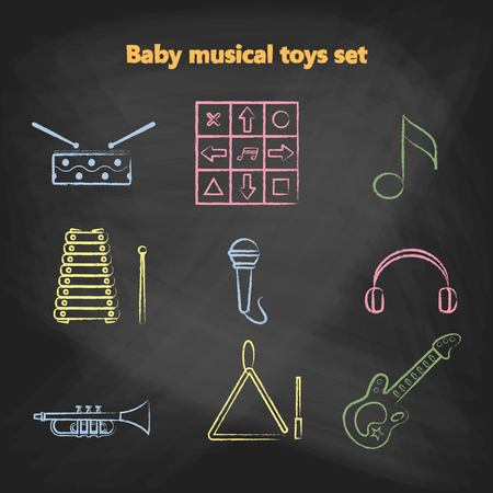 triangle musical instrument: Set of vector chalk icons of musical instrumen. Vector illustration in a chalk line style. Collection vector elements for web design, mobile applications, design flyers, discounts and advertising