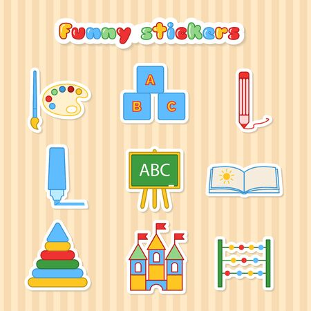 funy: Set of vector kids education stickers. Collection of sticker for lesson brush, paint, pencil, pen, blackboard, album, pyramid, cubes and scores. Funy vector illustration in a flat style