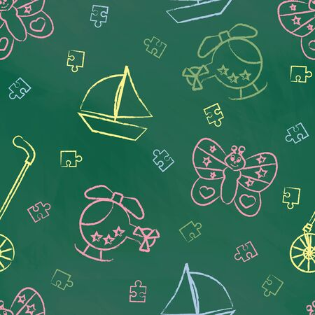 green board: Seamless pattern with color childrens chalk drawings on green board. Hand-drawn style. Seamless vector wallpaper with the image Rolling toys, butterfly, helicopter, boat, puzzle