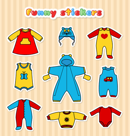 stiker: Set of cute clothess sticker for the little baby. Collection of clothing sticker in a flat style for the newborn. Set of vector icons for design labels, flyers, discount vouchers and advertising