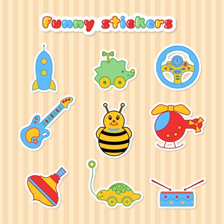 stiker: Set of vector stickers of toys. Collection of sticker for children. Vector illustration in a flat style. Vector elements for web design, mobile applications, design flyers, discounts and advertising