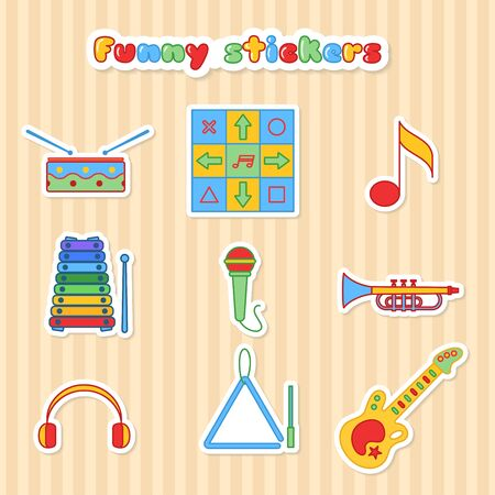 triangle musical instrument: Set of vector musical instrumen stickers. Vector illustration in a flat style. Collection vector label for web design, mobile applications, design flyers, discounts and advertising Illustration