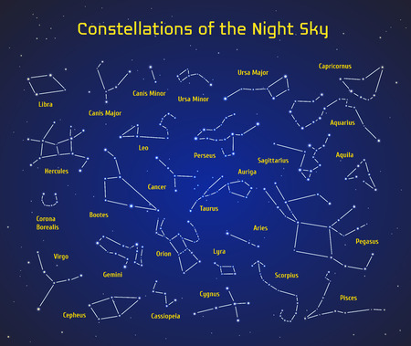 hercules: Big set of vector 28 constellations. Collection of zodiac constellations of the night sky. Elements for design flyers astronomical, astrological business cards, websites and packaging