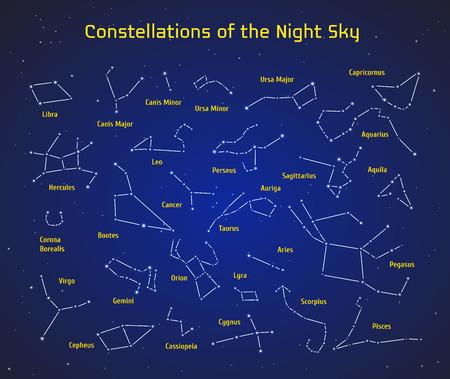 constelaciones: Gran conjunto de vectores de 28 constelaciones. Colección de las constelaciones del zodiaco del cielo nocturno. Elementos para el diseño de folletos astronómicas, astrológicas tarjetas de visita, sitios web y embalajes