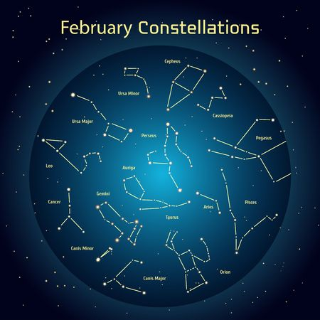 triangulum: Vector illustration of the constellations of the night sky in February. Glowing a dark blue circle with stars in space Design elements relating to astronomy and astrology