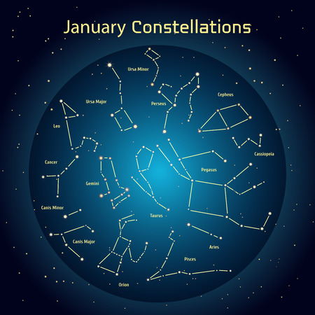 ursa minor: Vector illustration of the constellations of the night sky in January. Glowing a dark blue circle with stars in space Design elements relating to astronomy and astrology