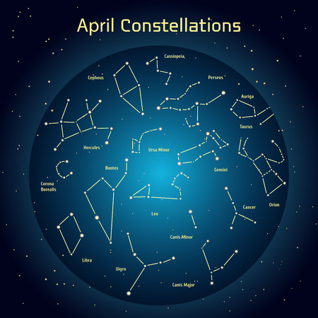 ursa: Vector illustration of the constellations of the night sky in April. Glowing a dark blue circle with stars in space Design elements relating to astronomy and astrology Illustration