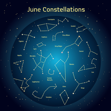 relating: Vector illustration of the constellations of the night sky in June. Glowing a dark blue circle with stars in space Design elements relating to astronomy and astrology Illustration