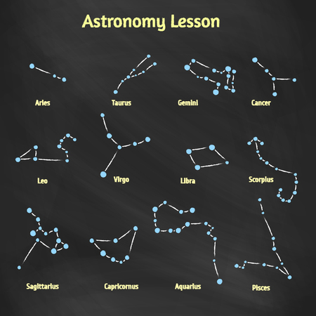 capricornus: A set of vector signs of the zodiac. Collection constellations drawn on the blackboard with chalk Design elements for design of printed materials and websites on the subject of astronomy and astrology