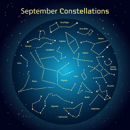 Vector illustration of the constellations of the night sky in September. Glowing a dark blue circle with stars in space Design elements relating to astronomy and astrology Illustration