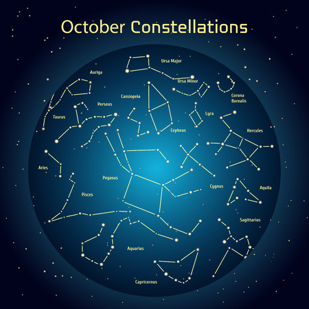 cygnus: Vector illustration of the constellations of the night sky in October. Glowing a dark blue circle with stars in space Design elements relating to astronomy and astrology Stock Photo