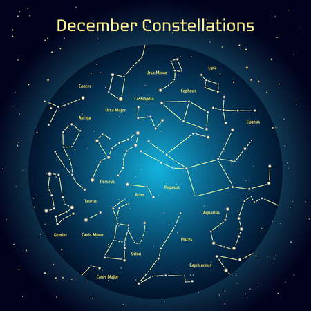 relating: Vector illustration of the constellations of the night sky in Desember. Glowing a dark blue circle with stars in space Design elements relating to astronomy and astrology