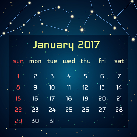 Vector calendar for 2017 in the space style. Calendar for the month of January with the image of the constellations in the night starry sky. Elements for creative design ideas of your calendar Vektoros illusztráció
