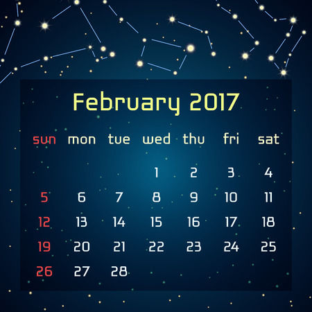 triangulum: Vector calendar for 2017 in the space style. Calendar for the month of Fabruary with the image of the constellations in the night starry sky. Elements for creative design ideas of your calendar Illustration