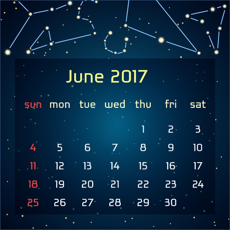triangulum: Vector calendar for 2017 in the space style. Calendar for the month of June, with the image of the constellations in the night starry sky. Elements for creative design ideas of your calendar Illustration