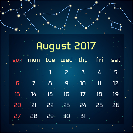 triangulum: Vector calendar for 2017 in the space style. Calendar for the month of August with the image of the constellations in the night starry sky. Elements for creative design ideas of your calendar Illustration
