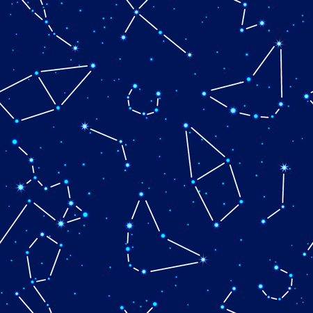 Vector seamless pattern. Space background night sky with the image of the constellations cepheus, capricornus, aquarius, aries, corona borealis, tayrus, cygnus, sagittarius, cassiopea Illustration