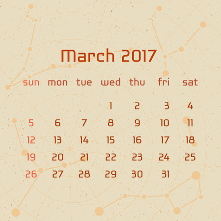 mach: Vector calendar for 2017 in the retro style. Calendar for the month of Mach with the image of the constellations on beige scratched background. Elements for creative design ideas of your calendar