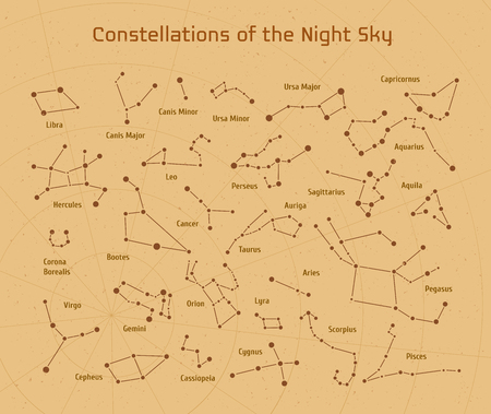costellazioni: Grande insieme di vettore 28 costellazioni. Raccolta delle costellazioni zodiacali del cielo notturno. Elementi per la progettazione volantini astronomiche, astrologiche biglietti da visita, siti web e imballaggi Vettoriali
