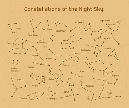 Große Reihe von Vektor 28 Konstellationen. Sammlung von Tierkreiszeichen des Nachthimmels. Elemente für das Design Flyer astronomisch, astrologische Visitenkarten, Websites und Verpackung Vektorgrafik