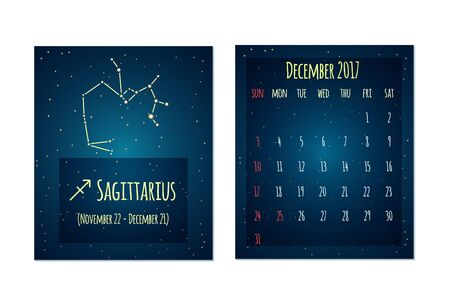 constellation sagittarius: Vector calendar for December 2017 in the space style. Calendar with the image of the Sagittarius constellation in the night starry sky. Elements for creative design ideas of your calendar