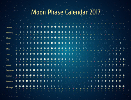 phase: Vector astrological calendar for 2017. Moon phase calendar in the night starry sky. Creative lunar calendar ideas for your design