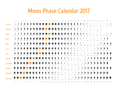 Vector astrological calendar for 2017. Lunye phase calendar for dark gray on a white background. Creative lunar calendar ideas for your design