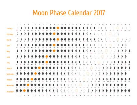 Vecteur calendrier astrologique pour 2017. Lunye calendrier de phase pour le gris foncé sur un fond blanc. Creative idées de calendrier lunaire pour votre conception