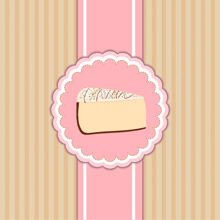 pattern cover the desserts menu for cafe with a slice of delicious cheesecake. A slice of cake in a pink circle on beige  vintage background. Ideas for the design of cakes menu in retro style.