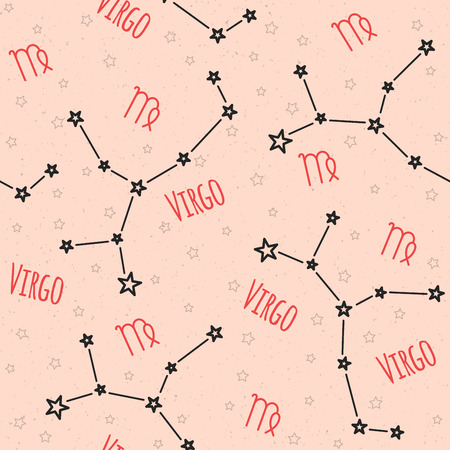 virgo zodiac sign: Seamless pattern. Background with the image of constellation Virgo zodiac sign on a sandy beige background with star. Pattern for design packaging, design brochures, printing on textiles Illustration