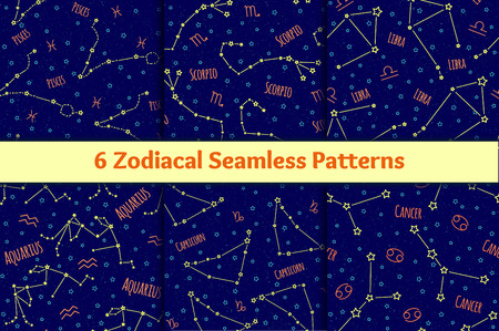 scorpion fish: Set of seamless patterns with the image of the zodiac signs and constellations. collection of blue backgrounds zodiac Pisces, Scorpio, Libra, Aquarius, Capricorn, Cancer starry sky Illustration